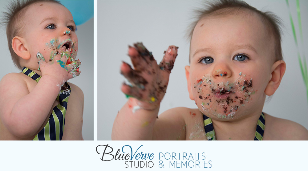 One Year Old Birthday Boy Portraits, Cake Smash, blue and green balloons, Lisle, IL