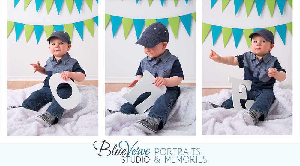 One Year Old Birthday Boy Portraits Blue Hat Jeans Green Pendants