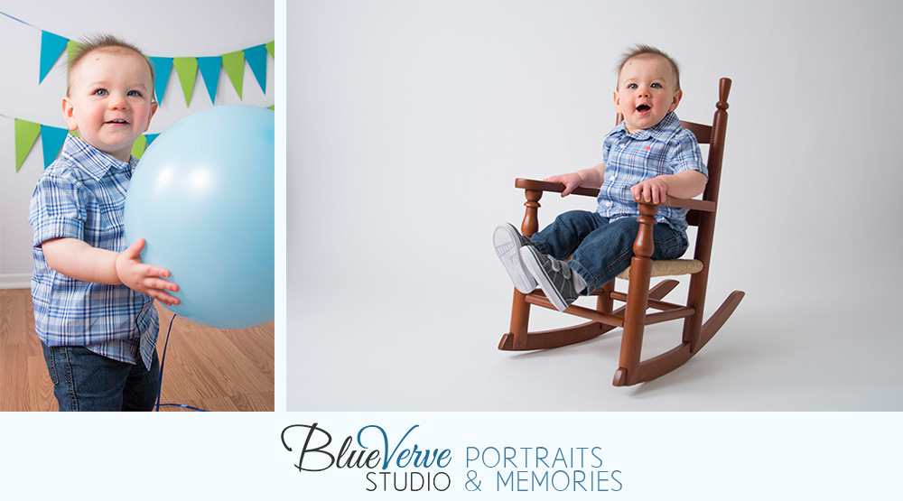 One Year Old Birthday Boy Portraits, Rocking Chair, Blue Jeans, green pendants, balloons, Lisle, IL