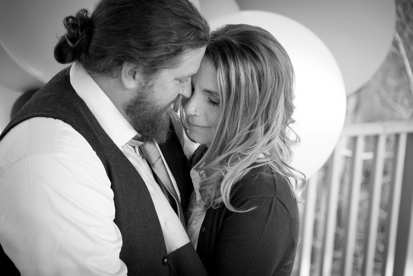 Black and White Styled Couples Adventure Session by BlueVerve Studio Vintage Balloons