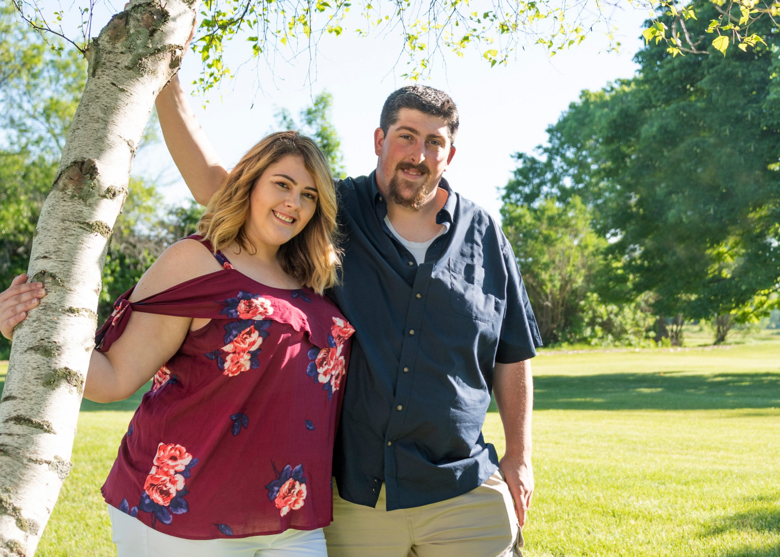 Sunny summer engagement session at Wind Point Lighthouse