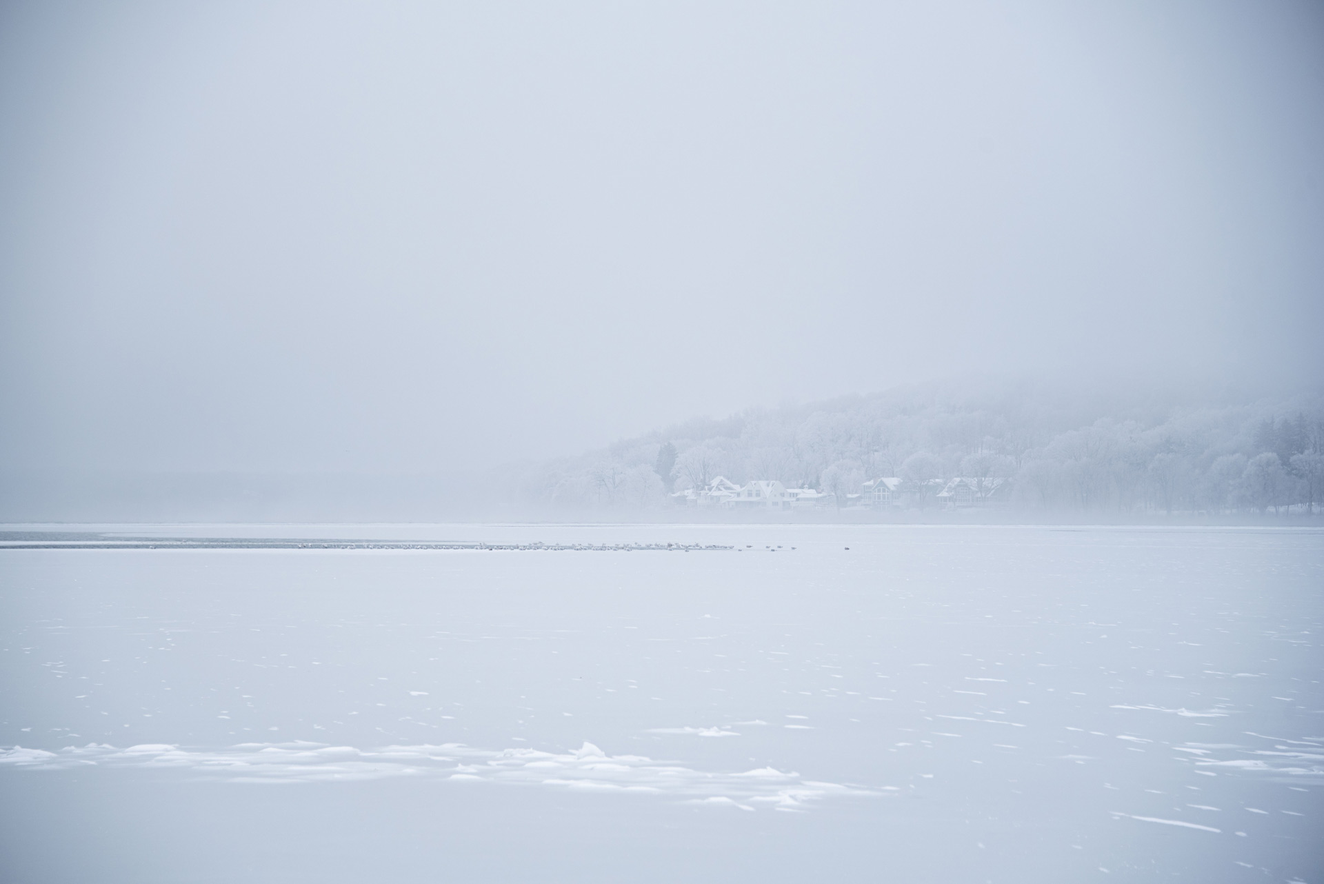 Foggy Wisconsin Geneva Lake covered in hoarfrost